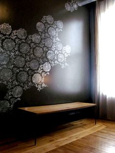 Charcoal & White Floral Stenciled Wall