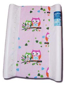 pokrowiec bawełniany uniwersalnyz gumką na przewijak - Różowy w sowy/changing mat cover