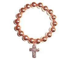 Kugel-Armband - rosé vergoldete - Kreuz-Anhänger.