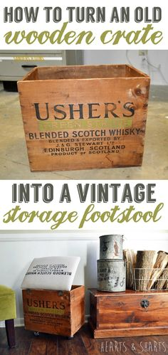 Simple tutorial on how to turn a thrifted wooden crate into a vintage storage ottoman on casters.