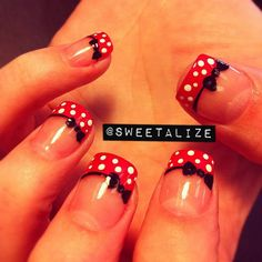 Cute red french with white polka dots and black ribbons (Minnie Mouse style Nail Art) ♥