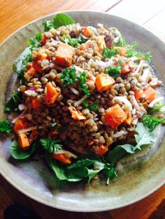 Spicy roasted sweet potatoes and lentil salad packs a fiber and protein punch.