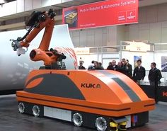 There are mobile robots and then there's KUKA's MOBILE robot. http://robohub.org/there-are-mobile-robots-and-then-theres-kukas-mobile-robot/