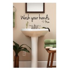 Bathroom Wall Decal Wash Your Hands Love Mom by luxeloft on Etsy...definitely for our downstairs bath.