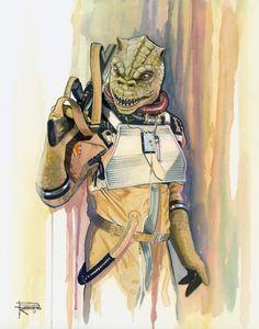 Siguiendo con la serie de artículos sobreStar Wars y el arte inspirado en la saga de películas que vamos encontrando en la red, aquí les quiero mostrar varias acuarelas de diferentes Bounty Hunters, pintadas por el artista Brian Rood. Entre los cazarrecompensas verán a IG-88, Dengar, Greedo, Zuckuss,4-LOM, Bossk, Jango Fett y Boba Fett. Muy buenas pinturas que se encuentran a la altura delos posters Star Wars de Arian Noveir,que les mostré hace un par de días atrás. A continuación tienen…