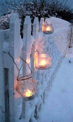 Luces con hielo y nieve