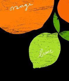 Art for kitchen Citrus Love Black Poster print 20x27 by anek
