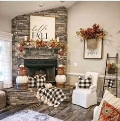 Inspiring Farmhouse Fall Decor Ideas - Home Design - lmolnar - Best Design and Decoration You Need Fall Home Decor, Autumn Home, Fall Mantle Decor, Dyi Fall Decor, Corner Mantle Decor, Mantles Decor, Fall Apartment Decor, Fall Decor Signs, Fall Kitchen Decor
