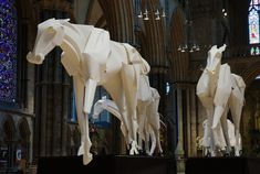 Majestic Paper Horses Grace Lincoln Cathedral