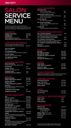 jcp salon (located inside JCPenney) service menu