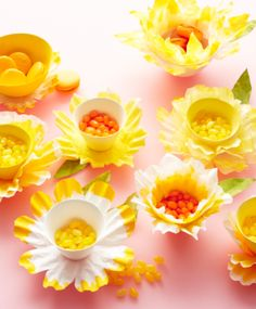 Coffee Filter Daffodil Center Pieces!  I LOVE this!  What a simple and adorable idea for Easter or for a spring shower!