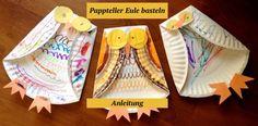 Basteln mit Kindergartenkindern -herbst-anleitung-papier-pappteller-eule