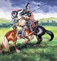 Robert the Bruce, King of Scotland about to kill Sir Henry de Bohum (gouache on paper) by Embleton, Ron ( info.: A scene from The Battle of Bannockburn in Robert the Bruce Medieval Knight, Medieval Armor, Portsmouth, English Knights, Scottish Independence, Knights Templar, Military Art, Military History, Dark Ages