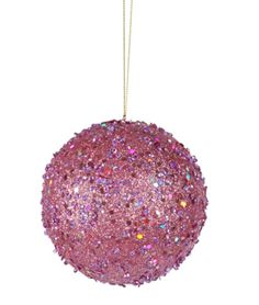Fancy Carnation Pink Holographic Glitter Drenched Christmas Ball Ornament 4 7715861 | ChristmasCentral