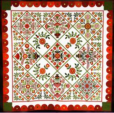 """Bed of Roses, 80 x 80"""", by Susan H. Garman.  2nd place, traditional large applique, 2013 Road to California.  Inspired by traditional red and green quilts"""