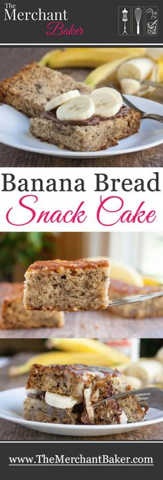 Banana bread snack cake filled with nutella and sliced bananas, then drizzled with sweetened condensed milk. (It's really just a perfect banana bread recipe but baked up quickly in a cake pan!)