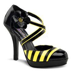 FUNTASMA BUZZ-68 Yellow-Black Pat D'Orsay Pumps - Shoecup.com