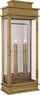 """14.   EXTERIOR FRONT DOOR, SHORTER VERSION ON SIDE WALLS AND THIS BY DINIG ROOM. ANTIQUE BY FOUNTAIN. 22""""H X 9""""W IN BRONZE       TALL LINEAR LANTERN (interior version available)"""