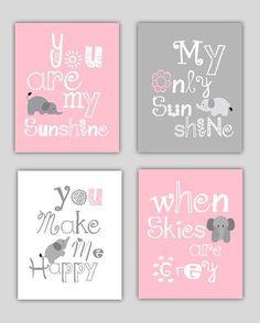 Elefant-Kunst / / du bist mein Sonnenschein rosa von LittlePergola