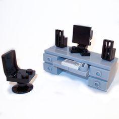 LEGO Furniture: Computer Desk (Gray) w/ keyboard, computer and chair {lot,set} #LEGO