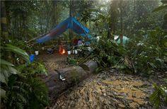 Campamento del equipo de National Geographic durante la exploración en La Mosquitia de Honduras, donde está la legendaria Ciudad Blanca. FOTO Exclusiva National Geographic.