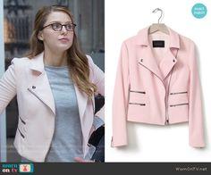 Kara's pink moto jacket on Supergirl.  Outfit Details: https://wornontv.net/56009/ #Supergirl