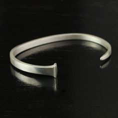 Handmade Forged Sterling Silver Antique Square Nail Cuff Bracelet Handmade
