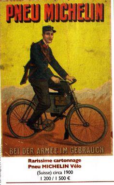 PNEU MICHELIN sur Vélo Armée Suisse en 1900 MICHELIN TIRE on Swiss Army Bike in 1900