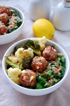 Roasted Vegetable Bulgur Bowl with Lamb Meatballs recipe