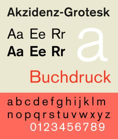 Akzidenz-Grotesk is a grotesque (early sans-serif) typeface originally released by the Berthold Type Foundry in 1896. The design of Akzidenz-Grotesk was theorized to be derived from Walbaum or Didot, as demonstrated by the similar font metrics when the serifs are removed. Akzidenz-Grotesk and Georgia are the official fonts of the American Red Cross.