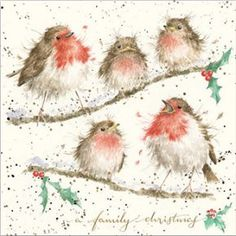 These wonderful Christmas cards are high quality beautifully depicted, quirky designs based on original artwork by Hannah Dale. The cards measure x are printed on textured board which will make a beautiful wall hanging print. Family Christmas Cards, Christmas Bird, Christmas Scenes, Christmas Pictures, Vintage Christmas, Christmas Illustration, Illustration Art, Illustrations, Animal Paintings