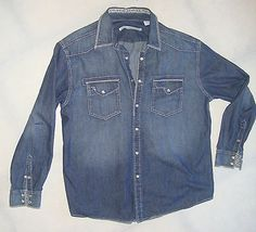 SOLD! Mens-Blue-Denim-Western-Shirt-Pearl-Snaps-Size-XL-Long-Sleeve-Axis-Modern-Concep