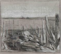 Carel Willink (Dutch, 1900-1983), [Beautiful weather and even a seat after the atomic explosion - study], 1951. Charcoal and crayon on paper, 48 x 54.5 cm.