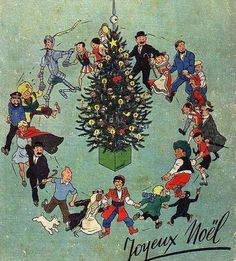 a very merry Tintin Christmas! Vintage Books, Vintage Cards, Vintage Images, Christmas Past, Vintage Christmas, Christmas Ideas, Christmas Gifts, Fox Terriers, Tin Tin Cartoon