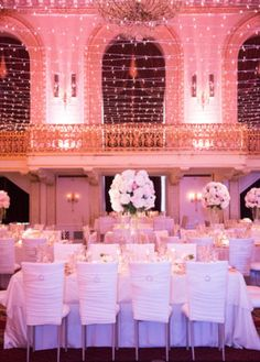Omni William Penn Wedding | The Event Group | Style Me Pretty Wedding | Pittsburgh | Sequined Linens, White Chairs, Gorgeous Twinkle Light Reception