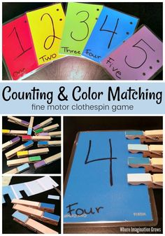Simple clothespin counting and color matching activity for toddlers! Use clothespins and paint chips to make a hands-on learning activity for kids that teaches number sense, counting, and color recognition. A good fine motor activity too! Matching Games For Toddlers, Color Activities For Toddlers, Educational Games For Toddlers, Colors For Toddlers, Preschool Colors, Preschool Learning Activities, Gross Motor Activities, Infant Activities, Shape Games For Kids