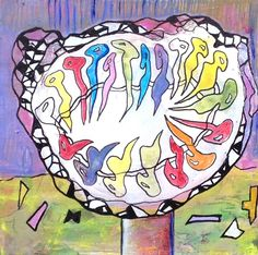 Mandalaboom 3 De kleurrijke mandala (magische cirkel), op mijn manier van meditatief schilderen. Een doekje vanuit de ziel. Een lichtpuntje om te geven, als oppepper, krachtgever, of als teken van vriendschap. Ellen Berens