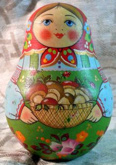 This is a nevalashka - Russian traditional roly-poly toy. #folk #art #Russian #toys