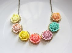 #Summer  Collection Rainbow Roses Colourful #necklace  #jewelry  #etsy  #nature  #handmade