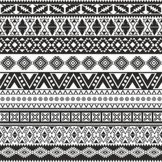 Tribal seamless pattern - aztec black and white background Vinyl Wall Mural - Styles tattoos symbols tattoos art tattoos chest tattoos armband tattoos bracelet Mandala Design, Mandala Art, Motifs Aztèques, Muster Tattoos, Black And White Background, Aztec Background, Black White, Seamless Background, Tribal Prints