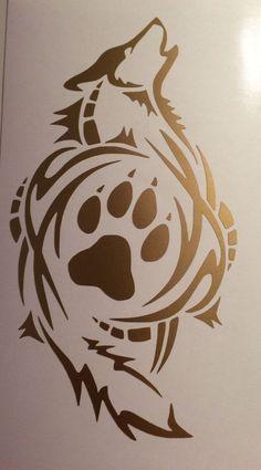 TrIbal Wolf Paw Print  Decal VINYL STICKER Funny WINDOW CAR Gold #ORACAL