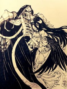 Anime,Аниме,Ainz Ooal Gown,Overlord (Anime),Albedo,Monochrome (Anime)