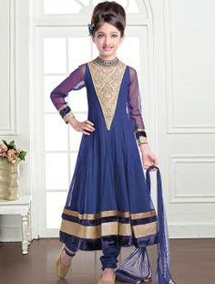 Royal Navy Blue Net Kids Anarkali Salwar Suit