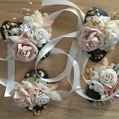 camille added a photo of their purchase Wrist Corsage Wedding, Bridesmaid Corsage, Flower Headpiece Wedding, Flower Crown Wedding, Wedding Hair Flowers, Bridal Flowers, Blue Bridesmaids, Boho Wedding, Wedding Ideas