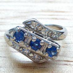 Vintage Ceylon Sapphire And Diamond Ring by BFJewelryEst1984