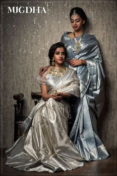 Eye catching Grey saree with Bridal Jewelry<br> Bridal Silk Saree, Satin Saree, Pattu Sarees Wedding, Wedding Lehanga, Indiana, Silk Saree Kanchipuram, Banaras Sarees, Grey Saree, White Saree