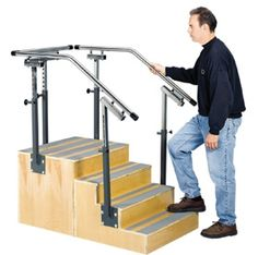 "Clinton™ Adjustable Rail One-Sided Staircase - Stainless-steel handrails adjust in 1-1/2"" increments to fit all ages, from pediatric to adult."