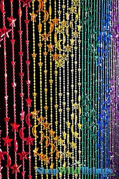 Beaded Curtain Rainbow of stars and moon Bathroom Home Doorway Window Decorative