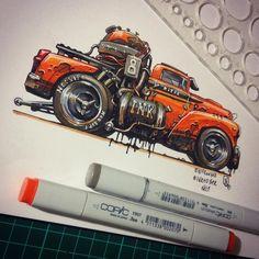 "「 #Inktober 2015. No.1 ""lnkster"" Done.  #nitrouzzz #AndreyPridybaylo #art #illustration #drawing #car #pickup #truck #sketch #sketchaday #sketchoftheday… 」"