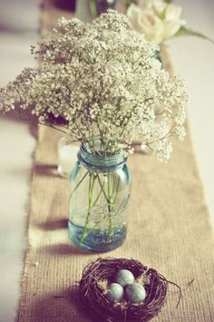 So baby's breath is a big deal nowadays I guess, which I am totally ok with because I love how fragile and fancy it is, it's like nature's lace (or would that be Queen Anne's lace?) ~babys breathe wedding centerpiece in mason jars